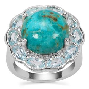 Cochise Turquoise, Sky Blue Topaz Ring with White Zircon in Sterling Silver 10.21cts
