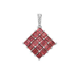 Rajasthan Garnet Pendant with White Topaz in Sterling Silver 3.52cts