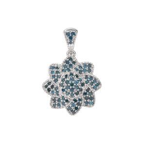 3/4ct Blue Diamond Sterling Silver Pendant
