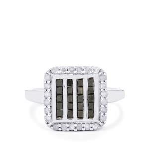Black Diamond Ring with White Diamond in Sterling Silver 1ct