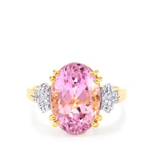 Mawi Kunzite Ring with Diamond in 18k Gold 7.9cts