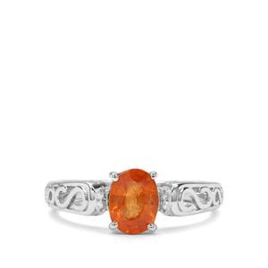Mandarin Garnet & Diamond Sterling Silver Ring ATGW 1.86cts