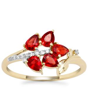 Songea Ruby Ring with Diamond in 9K Gold 1.02cts