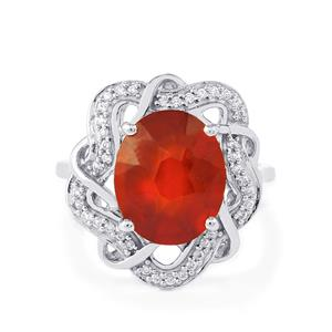 Hessonite Garnet Ring with White Zircon in Platinum Plated Sterling Silver 5.82cts