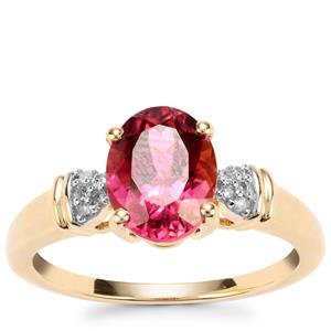 Congo Rubellite Ring with Diamond in 9K Gold 1.92cts