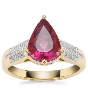 Mawi Rubellite & Diamond 18K Gold Lorique Ring MTGW 2.97cts
