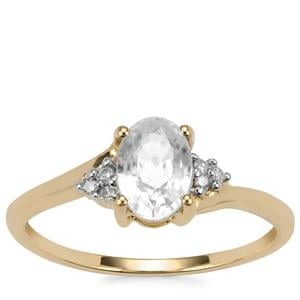 Singida Tanzanian Zircon Ring with Diamond in 10k Gold 1.56cts