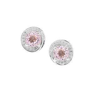 Brazilian Kunzite & White Zircon Sterling Silver Earrings ATGW 2.10cts