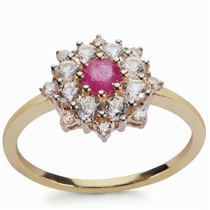 2cts Montepuez Ruby & White Zircon 9K Gold Ring