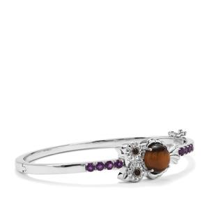 Tiger's Eye, Black Spinel Owl Oval Bangle with Ametista Amethyst in Sterling Silver 5.45cts