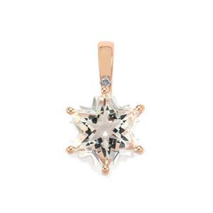 Itinga Petalite Wobito Snowflake Pendant with Diamond in 10K Rose Gold 3.65cts