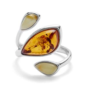 Baltic Butterscotch Amber Ring with Baltic Cognac Amber in Sterling Silver