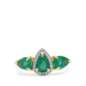 Zambian Emerald & White Zircon 9K Gold Tomas Rae Ring ATGW 2.05cts
