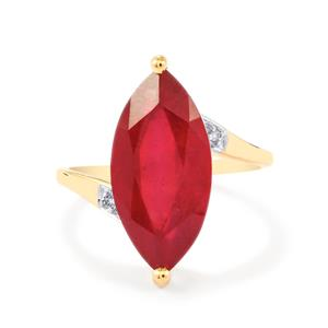 Malagasy Ruby Ring with Diamond in 9K Gold 7.57cts (F)