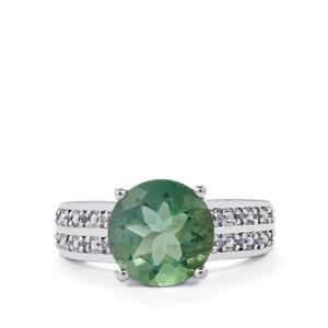 Tucson Green Fluorite & White Topaz Sterling Silver Ring ATGW 4.38cts