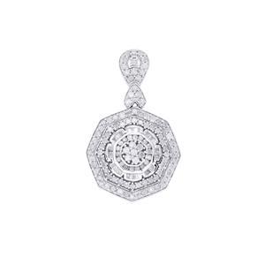5.05ct Diamond Sterling Silver Pendant