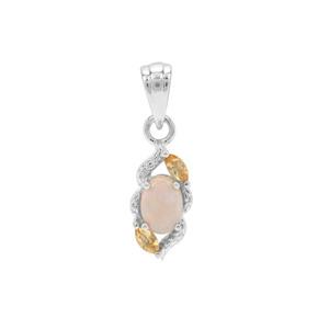 Coober Pedy Semi Black Opal & Diamantina Citrine Sterling Silver Pendant ATGW 0.62cts