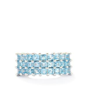 3.03ct Swiss Blue Topaz Sterling Silver Ring