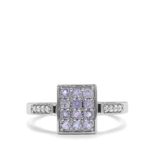 Tanzanite & White Zircon Sterling Silver Ring ATGW 0.55cts