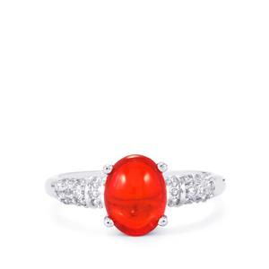 Ethiopian Red Opal & White Topaz Sterling Silver Ring ATGW 1.34cts