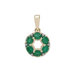 Zambian Emerald & White Zircon 9K Gold Pendant ATGW 1.10cts