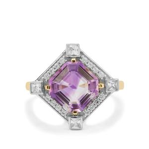 Asscher Cut Boudi Hourglass Amethyst Ring with White Zircon in 9K Gold 3.55cts