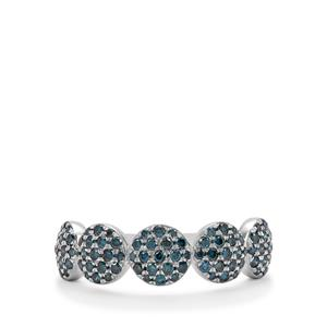 3/4ct Blue Diamond Sterling Silver Ring