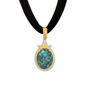 Copper Mojave Turquoise Necklace  in Gold Plated Sterling Silver 13.25cts