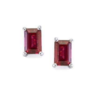 Rajasthan Garnet Earrings in Sterling Silver 1.45cts