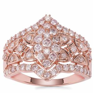 Pink Diamond Ring in 9K Rose Gold 1cts