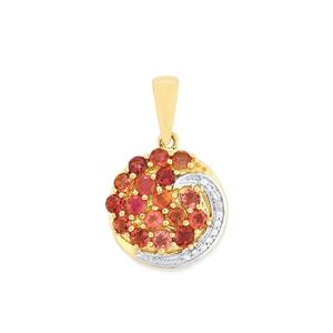 Natural Pink Tourmaline Pendant with White Zircon in 10k Gold 1.35cts