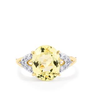 Canary Kunzite Ring with White Zircon in 10k Gold 4.89cts