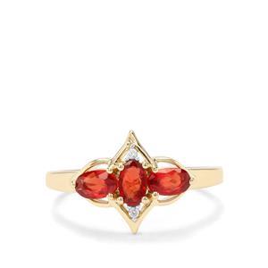 Songea Ruby & White Zircon 9K Gold Ring ATGW 0.96cts