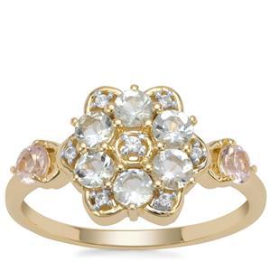Cherry Blossom™ Morganite, Aquaiba Beryl Ring with White Zircon in 9K Gold 0.78ct