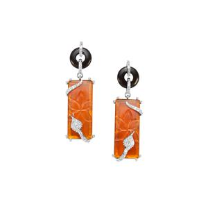 American Fire Opal, Black Onyx, White Zircon Earrings with Rio Golden Citrine in Sterling Silver 17.03cts