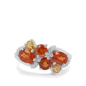 Mandarin Garnet, Yellow Sapphire & White Zircon Sterling Silver Ring ATGW 4.25cts