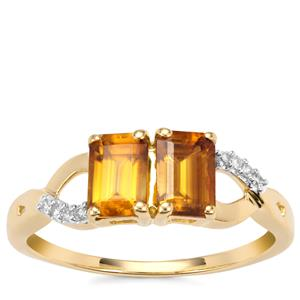 Morafeno Sphene Ring with Diamond in 9K Gold 1.35cts