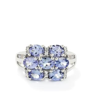 AA Tanzanite & White Topaz Sterling Silver Ring ATGW 2.60cts