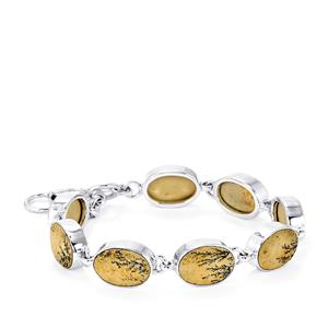 40ct Manganese Dendrite Sterling Silver Aryonna Bracelet