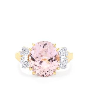 Mawi Kunzite Ring with Diamond in 18K Gold 7.69cts