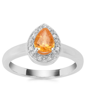 Mandarin Garnet Ring with White Zircon in Sterling Silver 1.03cts