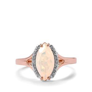 Ethiopian Opal & Diamond 9K Rose Gold Ring ATGW 1.04cts