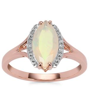 Ethiopian Opal Ring with Diamond in 10K Rose Gold 1.04cts