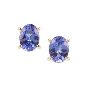 AA Tanzanite Earrings in 9K Gold 1.53cts