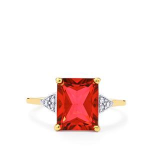 Cruzeiro Topaz & Diamond 9K Gold Ring ATGW 4cts
