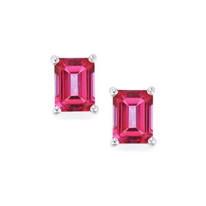 Mystic Pink Topaz Earrings in Sterling Silver 3.72cts