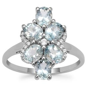 Santa Maria Aquamarine Ring with White Zircon in 9K White Gold 1.85cts
