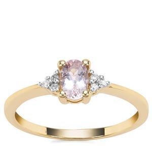 Nigerian Morganite Ring with Diamond in 9K Gold 0.64ct