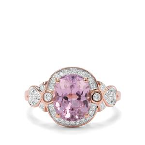 Kolum Kunzite & Diamond 18K Rose Gold Tomas Rae Ring MTGW 3.33cts