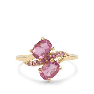 Natural Pink Fluorite & Sakaraha Pink Sapphire 9K Gold Ring ATGW 2.18cts